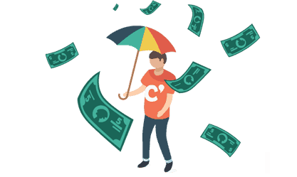 Man in red t shirt and raining money